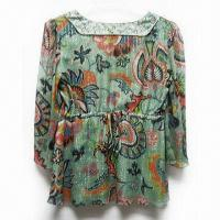 China Deep V-neck Rich Floral Ladies Top, Pretty and Feminine, Made of 100% Silk on sale