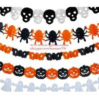 Wholesale New Paper Chain Garland Decorations Pumpkin Bat Ghost Spider Skull Shape Halloween Decor Garland Decor from china suppliers