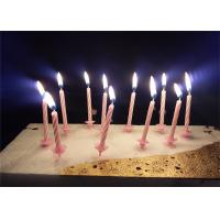 Wholesale Candy Sripes Spiral Birthday Candles Pink Paraffin Wax With 20pcs Holders from china suppliers