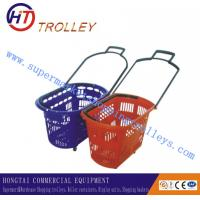 Wholesale Durable Red Plastic Four Wheeled Shopping Basket With Custom Logo 48L from china suppliers
