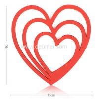 Quality Deumei Eco-friendly Heart Shape Silicone Trivet Mat/Customized 3 Heart Silicone Placemat for sale
