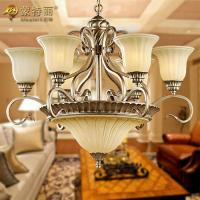 Wholesale Glass Hanging Funky Wrought Iron Chandeliers , Large Pendant Lamp from china suppliers