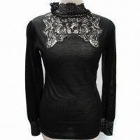 Wholesale Lady's Roll Neck Knitwear with Crochet on Front, Made of Wool and Acrylic from china suppliers