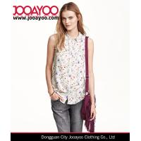 Wholesale Woven Straight-cut Chest Pocket Buttons Front Sleeveless Floral Printed Blouse from china suppliers