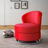 Wholesale Red Round Swivel Living Room Chair Karstud With Stainless Steel Base from china suppliers