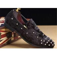Quality Red Velvet Punk Style Rivet Loafer Slip On Shoes Lightweight For Spring , Summer for sale