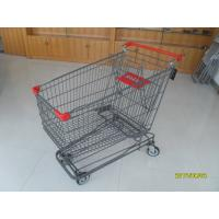 Wholesale 210L Asian Type Wire Shopping Trolley Wiht 4 Swivel 5 Inch Casters And Grey Powder Coating from china suppliers