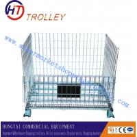Wholesale Large Folded Wire Mesh Container With Four Wheels For Warehouse from china suppliers