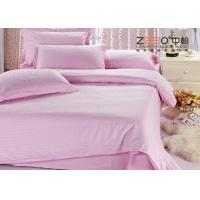 Quality 250TC Colorful School Hotel Collection Bedding Sets Queen Size Plain Stripe Design for sale