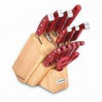 Wholesale 15-piece Forged Natural Knife Block Set, Available in Red Color from china suppliers