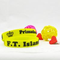 Wholesale Yellow 100% Embossed Custom Silicone Wristband / Bracelets For Younger Size from china suppliers