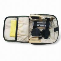 Wholesale Shoe Polish Set with 3 Pieces of Brush, 1 piece Bag and 27 x 12cm Yellow Cloth from china suppliers