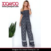 Wholesale Womens Fashion Wear Strapless Wide Legs Navy Blue Paisley Print Jumpsuits from china suppliers