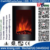 "Wholesale 23""Black Curved Tempered Glass Standing Wall Mounted Electric Fireplace Heater(Log/Pebbles Fuel) flame EF493/EF494 from china suppliers"