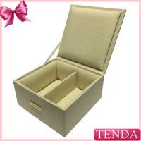 Wholesale Plain Natural Colors Linen Fabric Leather Jewellery Jewelry Storage Case for Jewellry Collection from china suppliers
