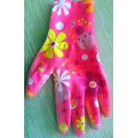 Wholesale Printed 13Gauge Nitrile Work Gloves , Red Floral Nitrile Garden Glove from china suppliers