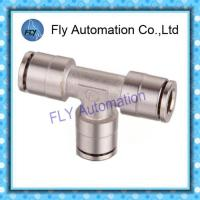 Wholesale Pneumatic Tube Fittings T-Tee nickel-plated brass quick coupling PE series from china suppliers