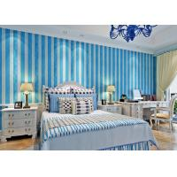 Wholesale Mediterranean Style Pale Blue And White Striped Wallpaper , Modern Wallpapers For Bedroom Walls from china suppliers
