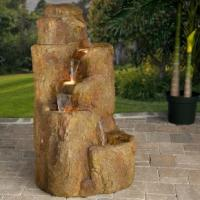Wholesale Beige Travertine 3 Tiers Stone Water Fountain from china suppliers