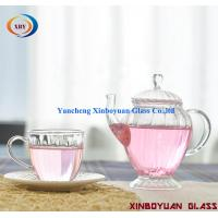 Quality hanmade pyrex glass flower teapot and cup for sale