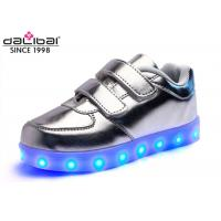 Wholesale Magical Strap Silver Childrens LED Shoes Running Luminous Lighting Sneakers from china suppliers