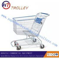 Wholesale 125L Zinc Plating Unfolded Wire Shopping Trolley , Airport / Grocery store Shopping Cart from china suppliers
