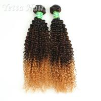 Wholesale Colored Peruvian Virgin Hair Body Wave / Three Tone  Kinky Curly Hair Extensions from china suppliers
