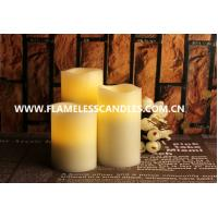 Wholesale Flameless LED Candles / Large White Pillar Candles With Moving Sensor And Wavy Edge from china suppliers