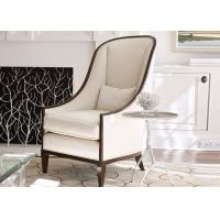 Wholesale European Style Wooden Club Chair , Cream Fabric Upholstered Accent Chair from china suppliers
