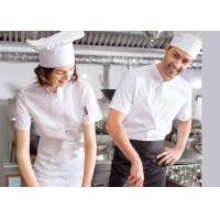 Single Breasted Custom Work Shirts , White Short Sleeve Embroidered Chef Coats for sale
