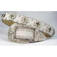Wholesale Alligator pattern synthetic leather rhinestone belts cross glass concho from china suppliers