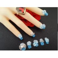 Wholesale Acrylic 3D False Nails with Metal Betterfly and Blue Flower for Adult Finger from china suppliers