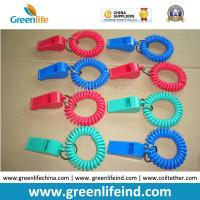Wholesale Red/Blue Plastic Wrist Band Coil Loop with Plastic Alerting Whistles from china suppliers