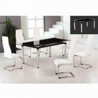 Buy cheap Dining Table with 12mm Black Painting Top and Powder-coated Finish Frame from wholesalers