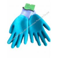 Wholesale Blue 10Gauge Latex Coated Gloves , T/C Dip Palm Latex Crinkle Glove from china suppliers