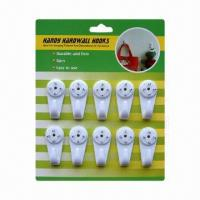 Wholesale 8PK Plastic White Handing Hardwall Picture Plastic Hook from china suppliers