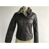 Levis dark brown ladies' pleather zip through jacket with detachable fake fur collar LEDO1743 for sale