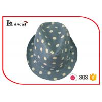 Wholesale Dot Printing Womens Trilby Hats , Female Custom Green Trilby Fedora Hat from china suppliers