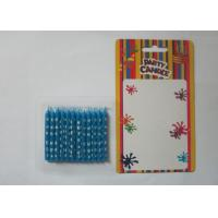 Quality Lovely Pattern Print Birthday Candles Unscented Decorative Blue Candles for Party for sale