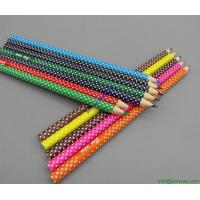 Wholesale plastic film printed colored wooden pencil, CMYK printed wooden colored pencil from china suppliers