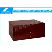 Wholesale Glossy Lamination Brown Wooden Gift Box / Packaging Box For Jewellery Sets from china suppliers