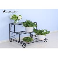 Wholesale Removable three layers of simple flower iron multilayer floor type flower pot green space European storage rack from china suppliers