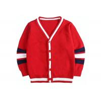 Wholesale Children Knitted Girls Red School Cardigan Sweater Striped Sleeve Pattern from china suppliers