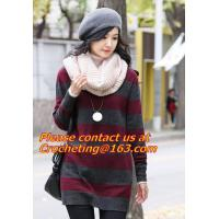 Wholesale Large Women Warm Winter Long Striped Shawl Wrap Tassel Scarf Thick Wool Crochet Scarves from china suppliers
