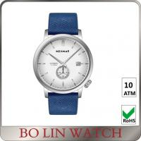 Wholesale Chrono Dial Navy Blue Leather Mens Watches , Silver Case Real Leather Watch from china suppliers