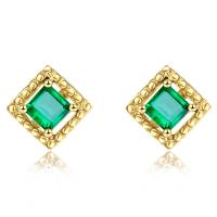Wholesale Square Genuine Emerald Stud Earrings 18k Yellow Gold for Ladies Gifts from china suppliers