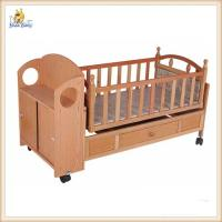 Wholesale Automatic Swing Wooden Baby Cribs Mobile , Portable Wooden Crib Bed from china suppliers