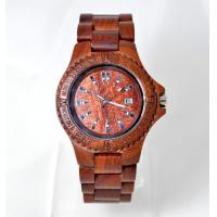 Wholesale Red bamboo Wooden Wrist Watch for women with strap buckle , Japan quartz movement from china suppliers