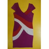 China Bodycon Workwear V Neck Short Sleeve Dress , Color Block Shift Dress For Work on sale