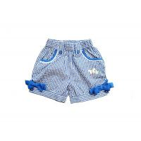 Wholesale Elastic Waist Bowknot Blue Strech Toddler Cotton Shorts Pants For Girl Summer 4-12 year from china suppliers